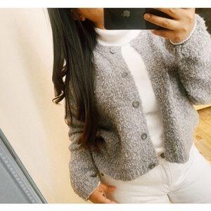 vintage • wool blend teddy coat cardigan - gray